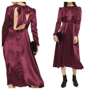 Topshop Satin Plum Midi Dress w/ Back Neck Bow